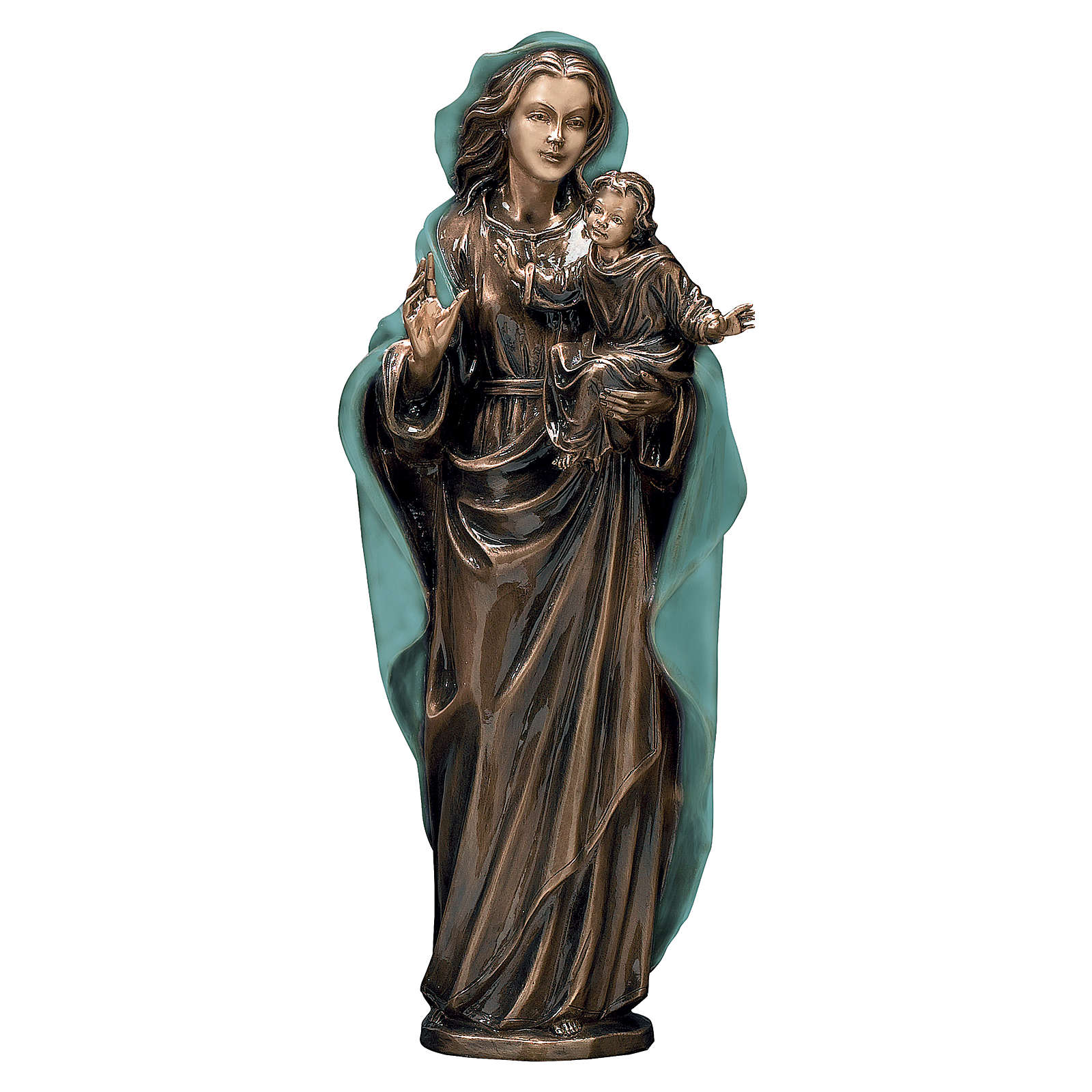 Statue of Virgin Mary with Baby Jesus in bronze 65 cm with green cloth for EXTERNAL USE 4