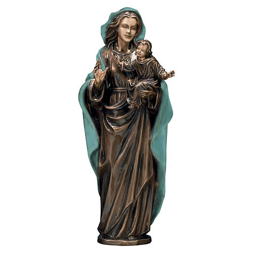 Statue of Virgin Mary with Baby Jesus in bronze 65 cm with green cloth for EXTERNAL USE 1