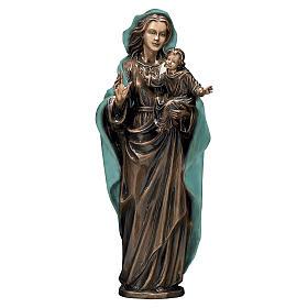 Statua Madonna col Bambino bronzo 65 cm manto verde per ESTERNO s1