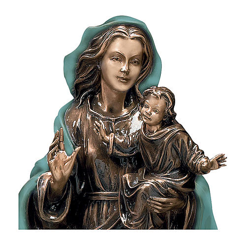 Mary and Child Bronze Statue with Green Mantle 65 cm for OUTDOORS 2
