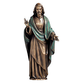 Statue of Christ the Saviour in bronze 60 cm with green cloth for EXTERNAL USE s1