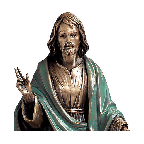 Statue of Christ the Saviour in bronze 60 cm with green cloth for EXTERNAL USE 2