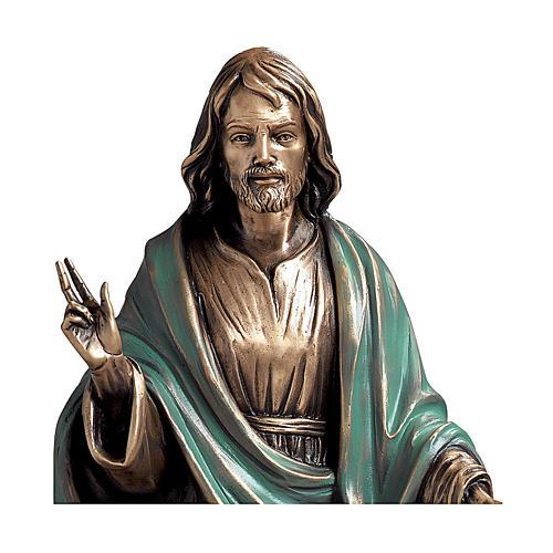 Statua Cristo Salvatore bronzo 60 cm manto verde per ESTERNO 2