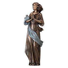 Statua bronzo donna mani giunte 60 cm azzurro per ESTERNO s1