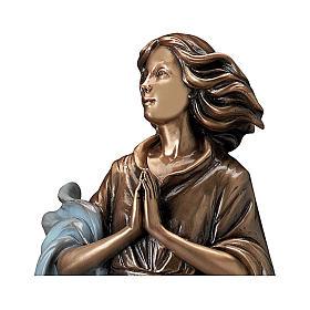 Statua bronzo donna mani giunte 60 cm azzurro per ESTERNO s2