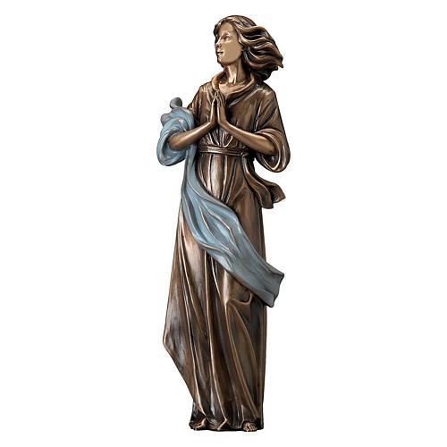 Statua bronzo donna mani giunte 60 cm azzurro per ESTERNO 1
