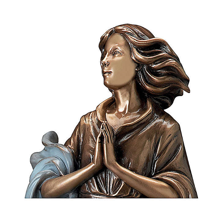 Woman Looking in Prayer Bronze Statue with Blue Drape 60 cm for OUTDOORS 4
