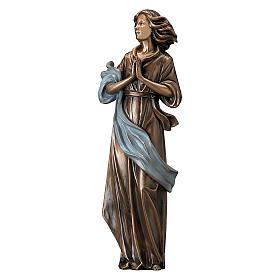 Woman Looking in Prayer Bronze Statue with Blue Drape 60 cm for OUTDOORS s1