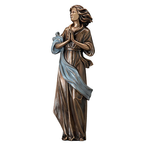 Woman Looking in Prayer Bronze Statue with Blue Drape 60 cm for OUTDOORS 1