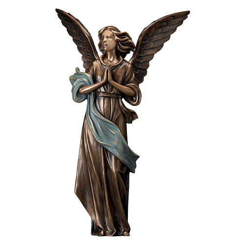Statue of Guardian Angel in bronze 65 cm with light blue cloth for EXTERNAL USE 1