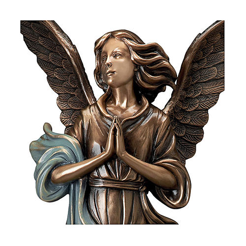 Statue of Guardian Angel in bronze 65 cm with light blue cloth for EXTERNAL USE 2