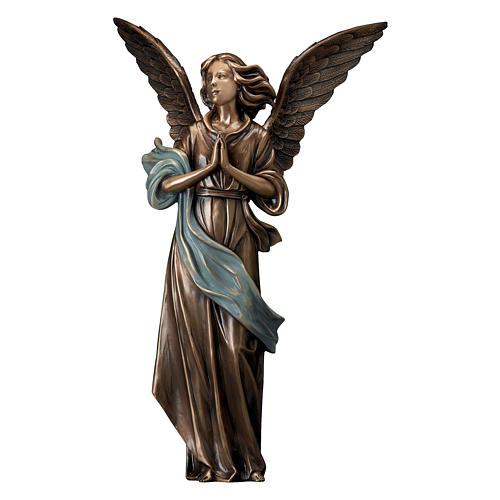 Statue bronze Ange Gardien 65 cm châle bleu POUR EXTÉRIEUR 1