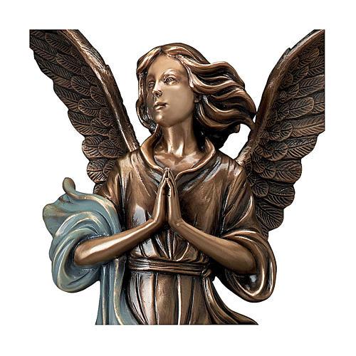 Statue bronze Ange Gardien 65 cm châle bleu POUR EXTÉRIEUR 2