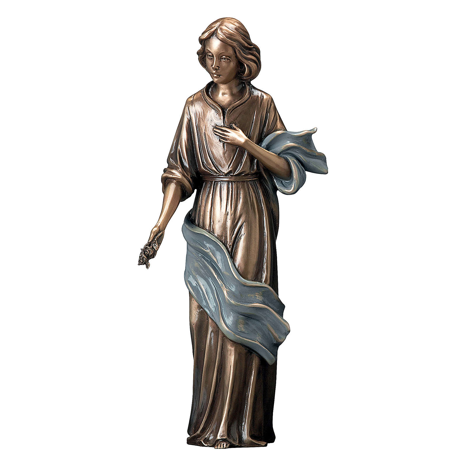 Girl Giving Flowers Bronze Statue 40 cm with Blue Scarf for OUTDOORS 4