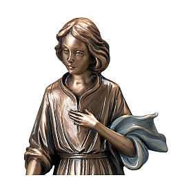 Girl Giving Flowers Bronze Statue 40 cm with Blue Scarf for OUTDOORS s2
