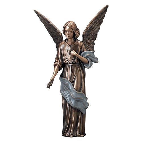 Statue Ange répandant des fleurs bronze 45 cm châle bleu POUR EXTÉRIEUR 1