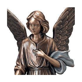 Statua Angelo spargifiori bronzo 45 cm azzurro per ESTERNO s2