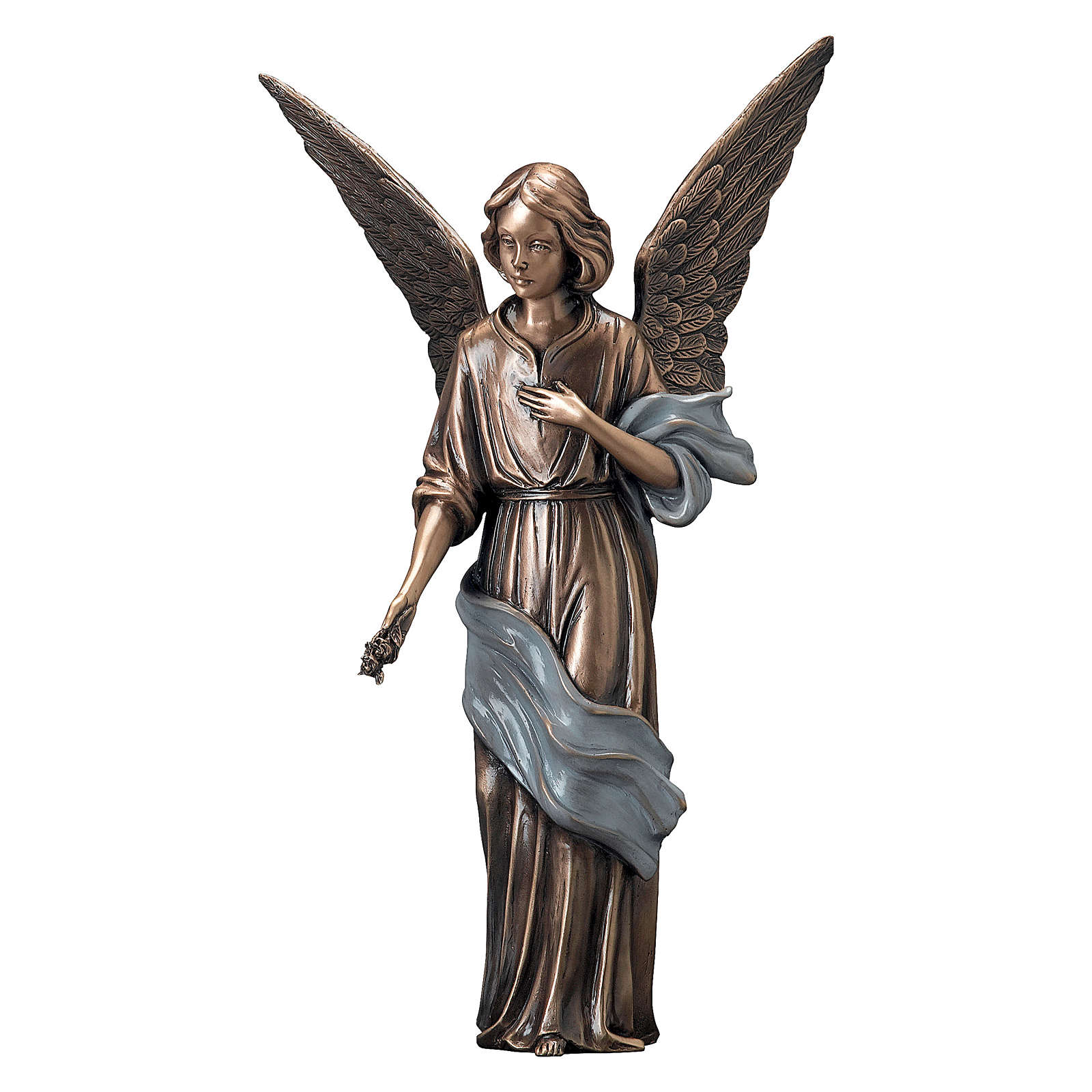 Young Angel Bronze Statue with Blue Scarf with Flowers 45 cm for OUTDOORS 4