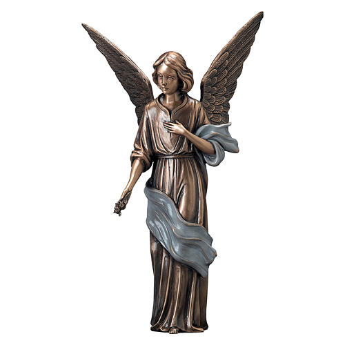 Young Angel Bronze Statue with Blue Scarf with Flowers 45 cm for OUTDOORS 1