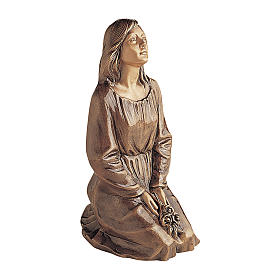 Statue of kneeling woman in bronze 45 cm for EXTERNAL USE s1