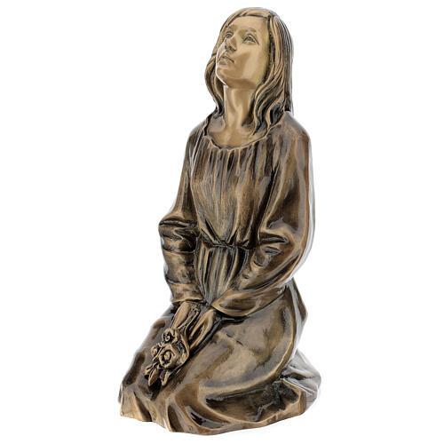 Statua donna in ginocchio bronzo 45 cm per ESTERNO 3