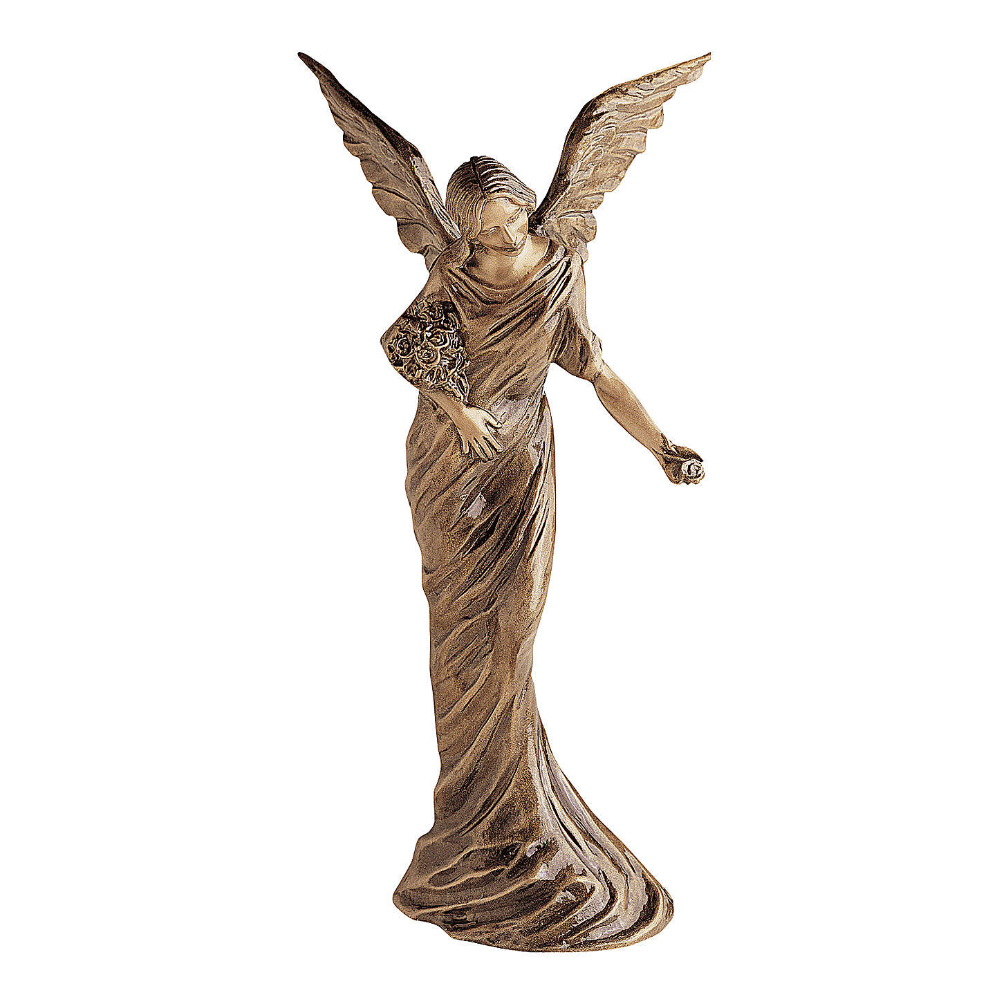 Statue of Angel scattering flowers in bronze 55 cm for EXTERNAL USE 4