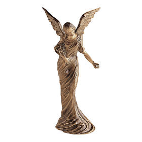 Winged Angel Bronze Statue Spreading Flowers on Ground 55 cm for OUTDOORS s1