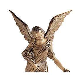 Winged Angel Bronze Statue Spreading Flowers on Ground 55 cm for OUTDOORS s2