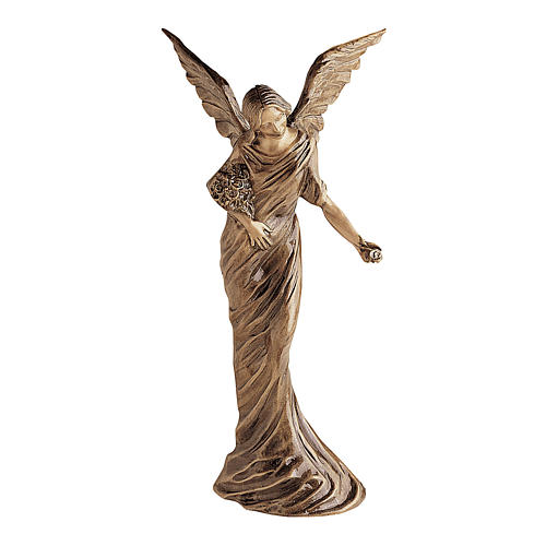 Winged Angel Bronze Statue Spreading Flowers on Ground 55 cm for OUTDOORS 1