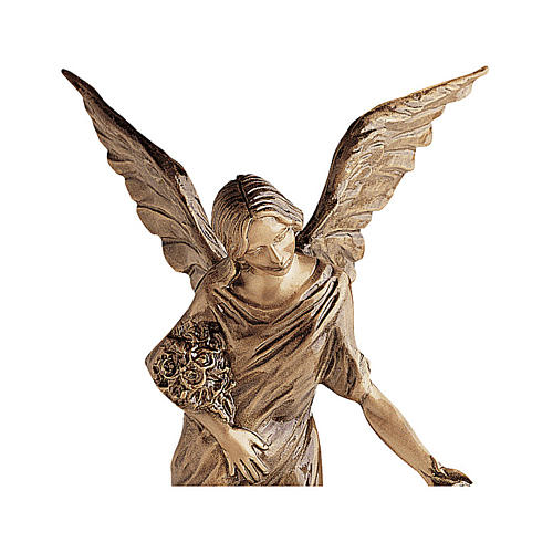 Winged Angel Bronze Statue Spreading Flowers on Ground 55 cm for OUTDOORS 2