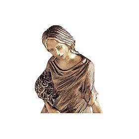 Statua bronzea Donna getta fiori 50 cm per ESTERNO s2
