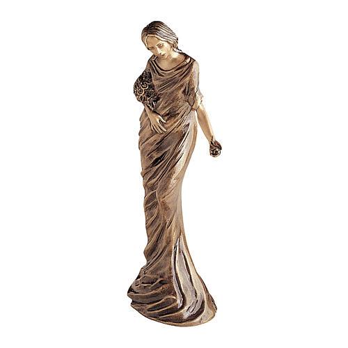 Statua bronzea Donna getta fiori 50 cm per ESTERNO 1