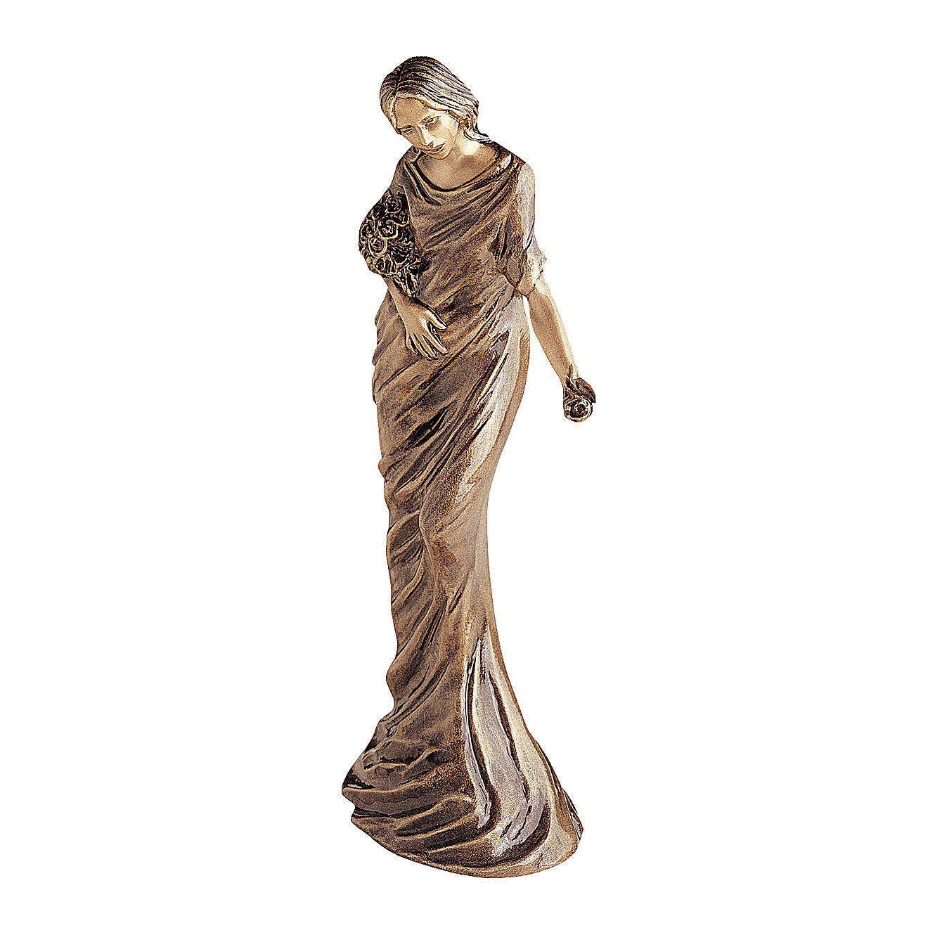 Woman Angel Bronze Statue with Flowers 50 cm for OUTDOORS 4