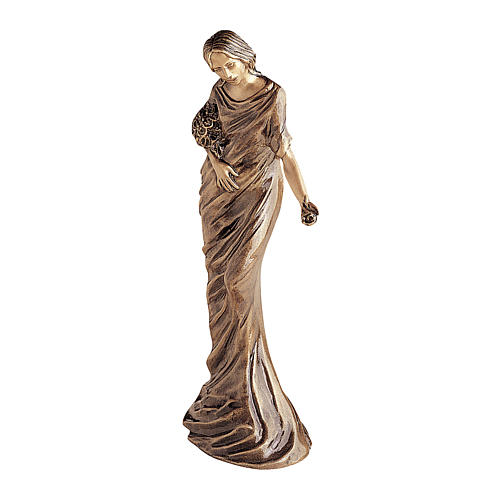 Woman Angel Bronze Statue with Flowers 50 cm for OUTDOORS 1