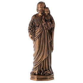 Statue of St Joseph with Baby Jesus in bronze 65 cm for EXTERNAL USE s1