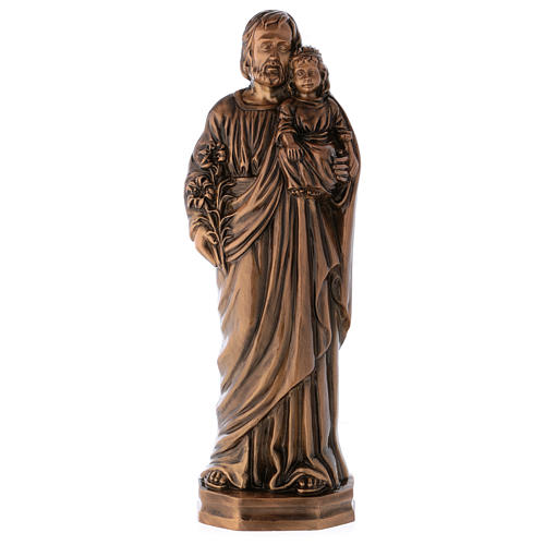 Statue of St Joseph with Baby Jesus in bronze 65 cm for EXTERNAL USE 1