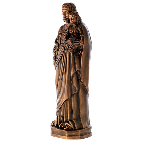 Statue of St Joseph with Baby Jesus in bronze 65 cm for EXTERNAL USE 2