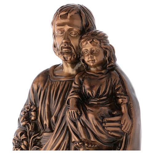Estatua San José con Niño bronce 65 cm para EXTERIOR 3