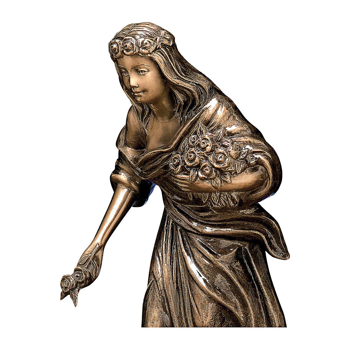 Bronze Woman Statue with Flower Crown 45 cm for OUTDOORS 4