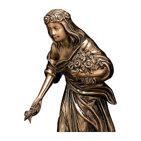 Bronze Woman Statue with Flower Crown 45 cm for OUTDOORS s2