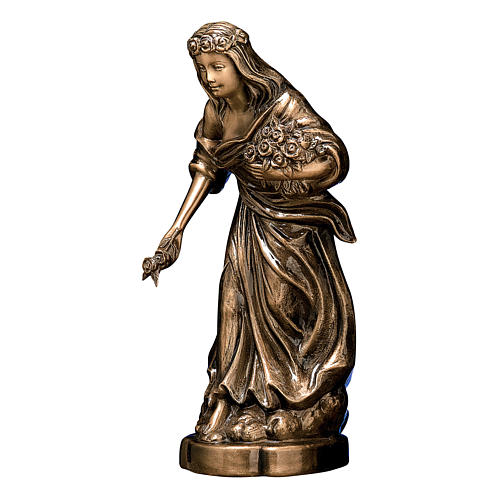 Bronze Woman Statue with Flower Crown 45 cm for OUTDOORS 1