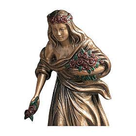 Statue jeune répandant des fleurs bronze 45 cm roses rouges pour EXTÉRIEUR s2