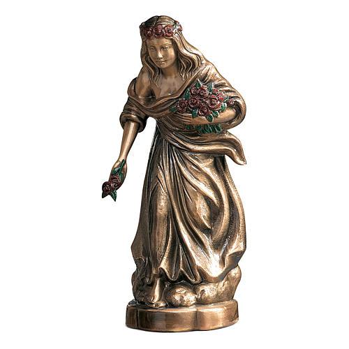 Statue jeune répandant des fleurs bronze 45 cm roses rouges pour EXTÉRIEUR 1