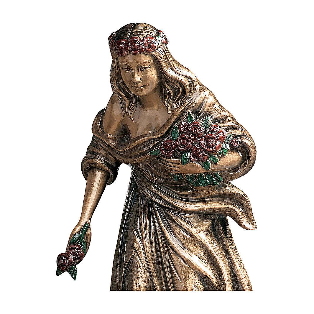Statua giovane gettafiori bronzo 45 cm rose rosse per ESTERNO 4