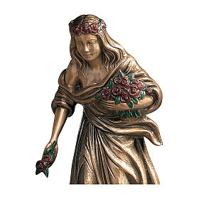Bronze Statue of Girl with Colored Roses 45 cm for OUTDOORS s2