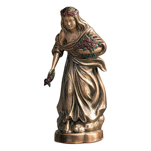 Bronze Statue of Girl with Colored Roses 45 cm for OUTDOORS 1