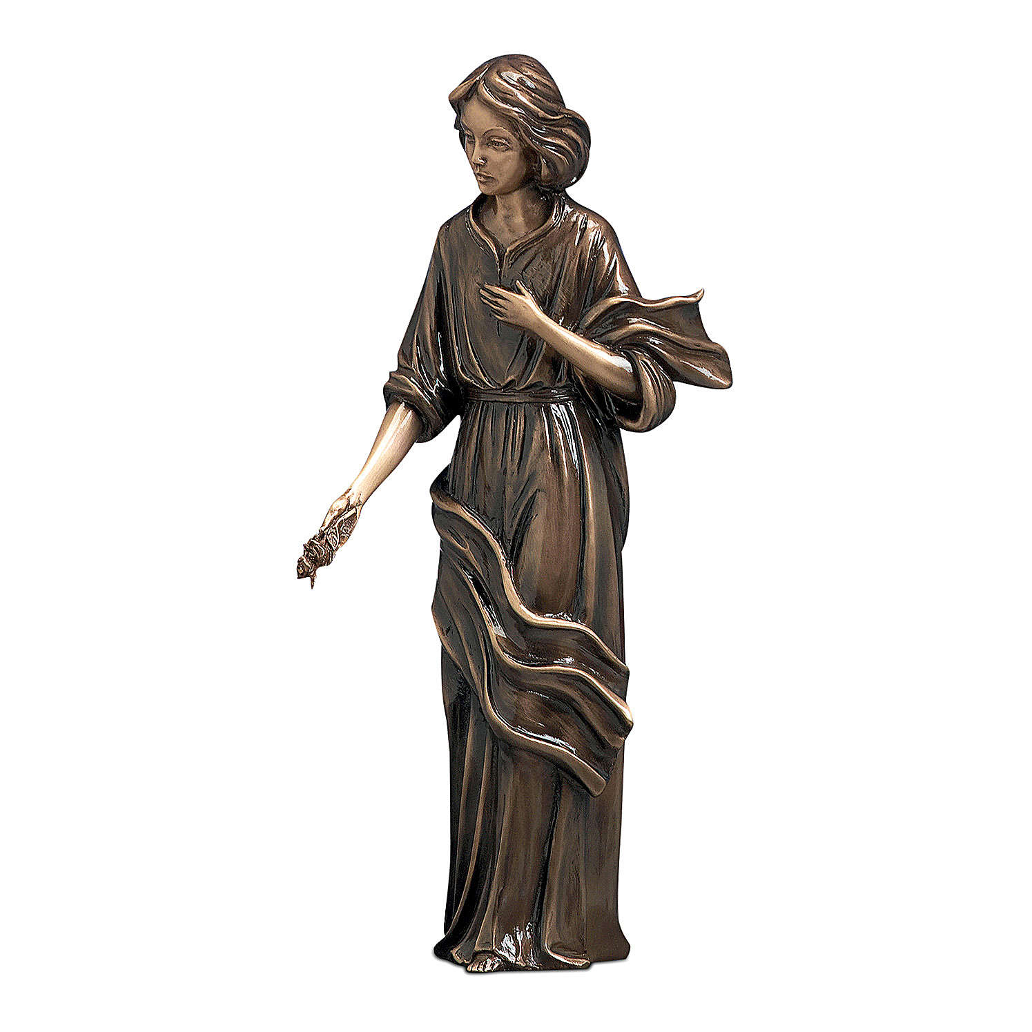 Woman with Hand on Heart Bronze Statue 40 cm for OUTDOORS 4