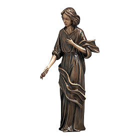 Woman with Hand on Heart Bronze Statue 40 cm for OUTDOORS s1