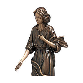 Woman with Hand on Heart Bronze Statue 40 cm for OUTDOORS s2