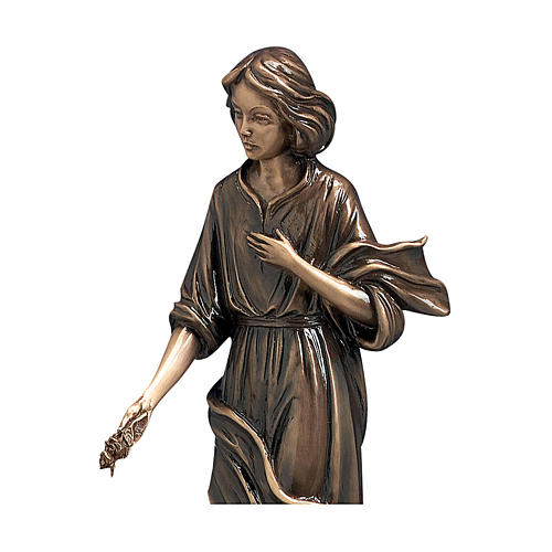 Woman with Hand on Heart Bronze Statue 40 cm for OUTDOORS 2
